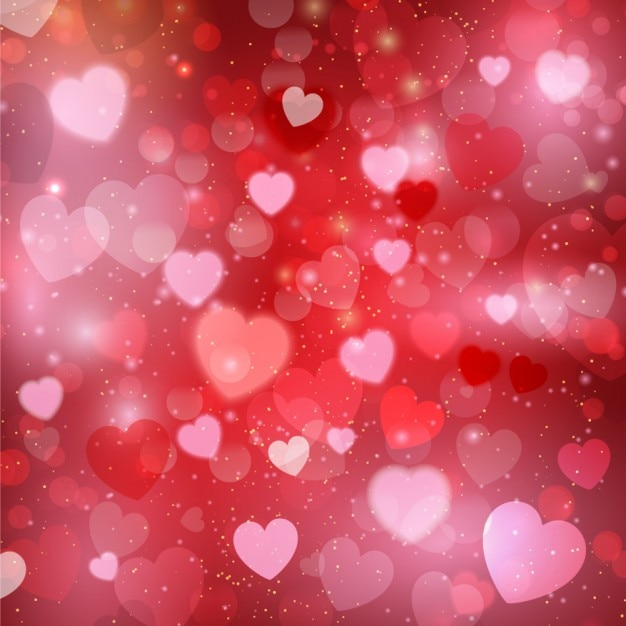 Pink hearts glowing background Free Vector
