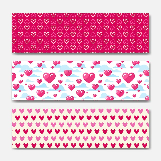 Pink hearts horizontal banners set decoration for valentines day holiday poster or web background design Premium Vector