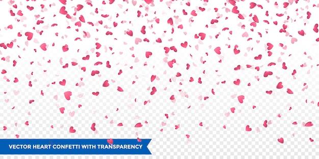 핑크 하트 꽃잎 떨어지는. 발렌타인 데이 배경 프리미엄 벡터