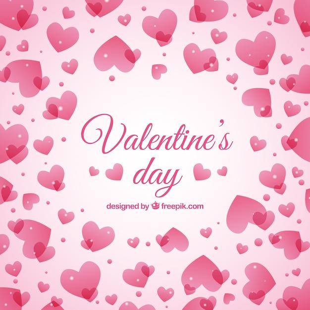 Pink Hearts Valentine Day Background Vector Premium Download