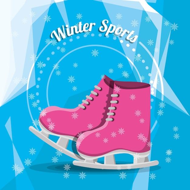 Pink ice skates icon Premium Vector