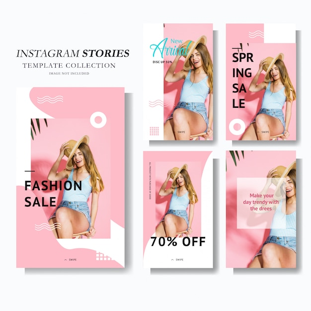 Pink instagram stories marketing Premium Vector