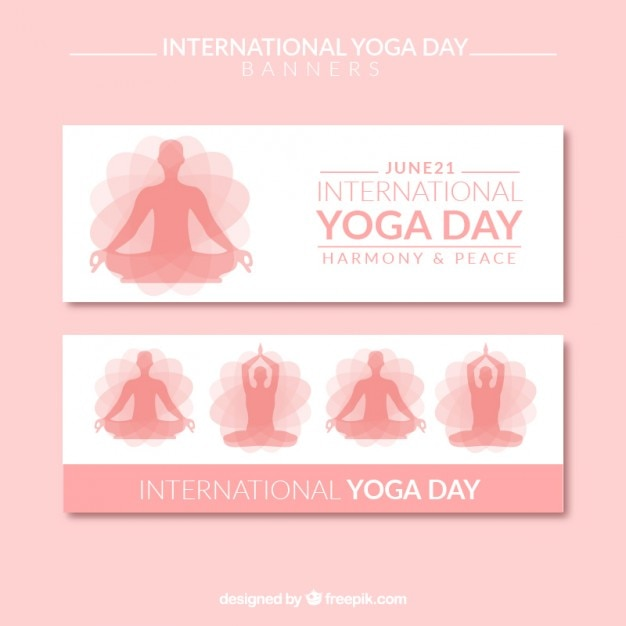 Pink international yoga day banners