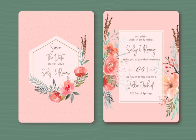 Pink invitation with beautiful floral watercolor Premium Vector
