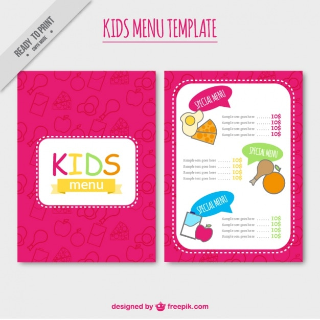 Pink Kids Menu Template Vector  Free Download