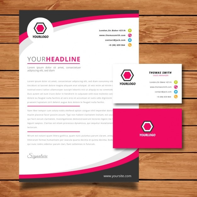 pink letterhead and business card free vector