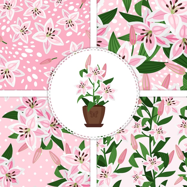 Pink lily in flower pot icon and patterns collection Premium Vector