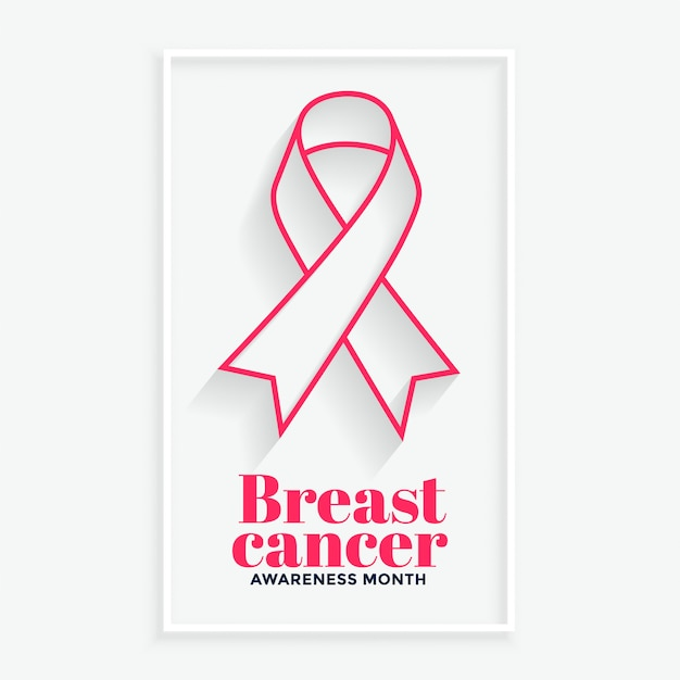 Pink line ribbon breast cancer awareness month poster Free Vector