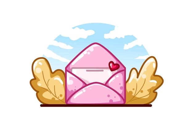 紅葉のピンクのラブレター Premiumベクター
