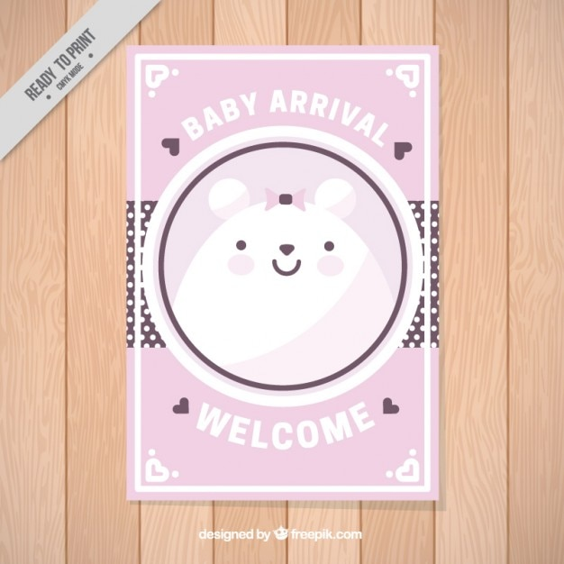 Pink lovely baby shower card with a nice bear