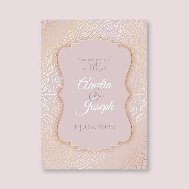 Розовый роскошный свадебный шаблон приглашения Бесплатные векторы