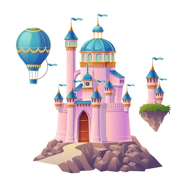 Castello magico rosa, palazzo della principessa o delle fate, mongolfiera e torrette volanti con bandiere. fortezza reale di fantasia, carina architettura medievale isolata su sfondo bianco. illustrazione di cartone animato Vettore gratuito