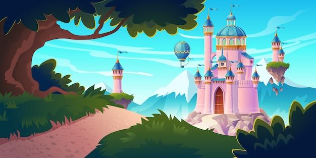 岩だらけの道のある山々にあるピンクの魔法の城、王女または妖精の宮殿は、空を飛んでいる砲塔と気球のある門につながります。ファンタジー要塞、中世の建築。漫画イラスト 無料ベクター