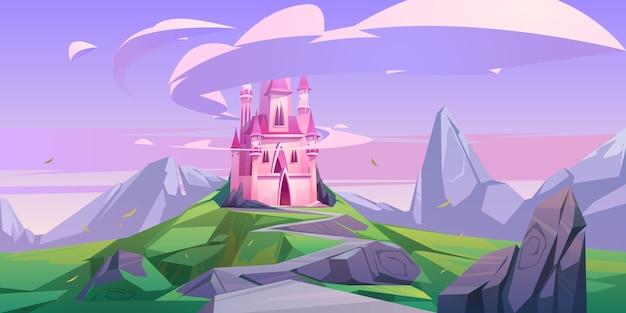 Розовый волшебный замок принцессы или сказочный дворец на скале Бесплатные векторы