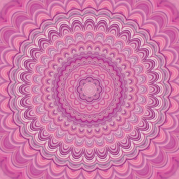 Pink mandala fractal ornament background - round symmetrical vector pattern graphic design from concentric ellipses Free Vector
