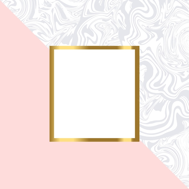 Pink and marble geometric card  with gold frame Premium Vector