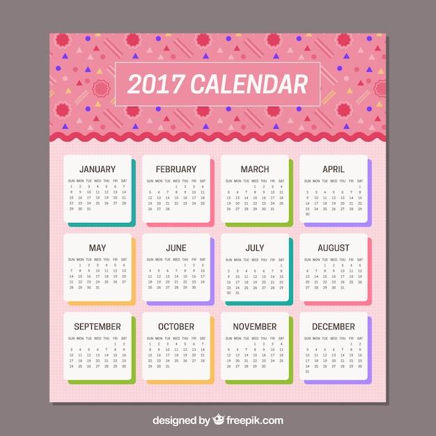 Pink Memphis Calendar Vector Free Download