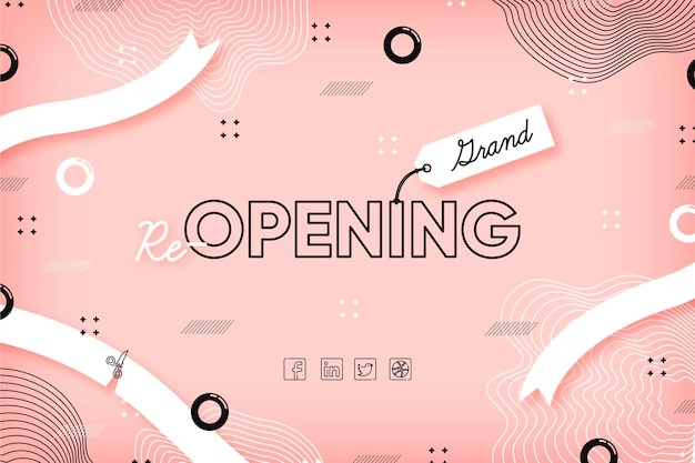Pink memphis effect re-opening soon background Free Vector