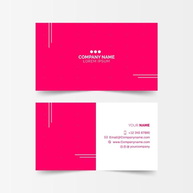 Розовая минимальная визитка Бесплатные векторы