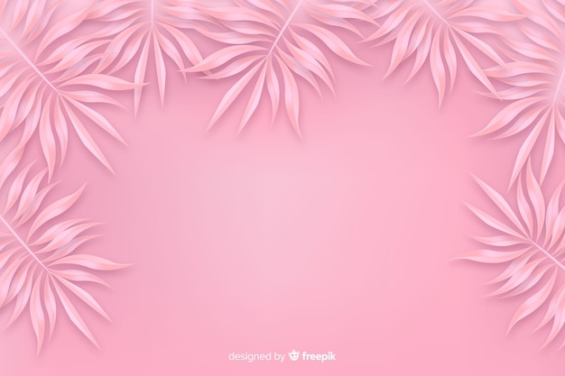 Pink monochrome background with leaves Free Vector