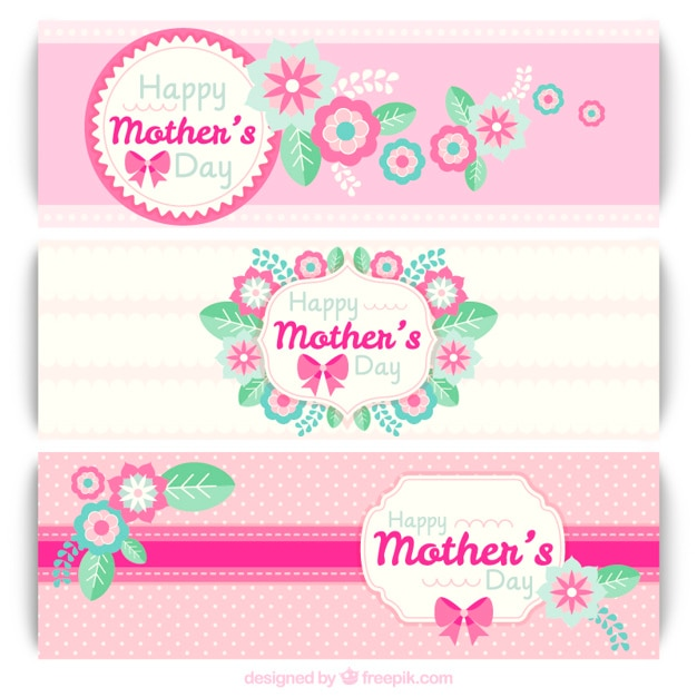 Pink mother\'s day banners with flowers