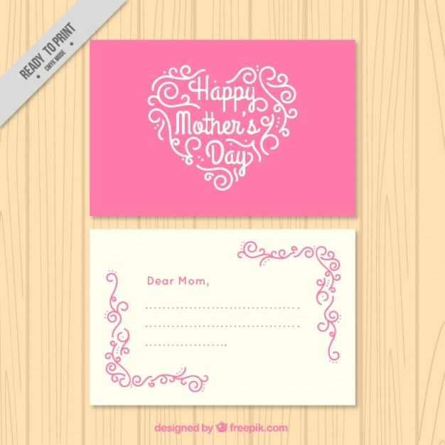 Pink mother\'s day card with a heart