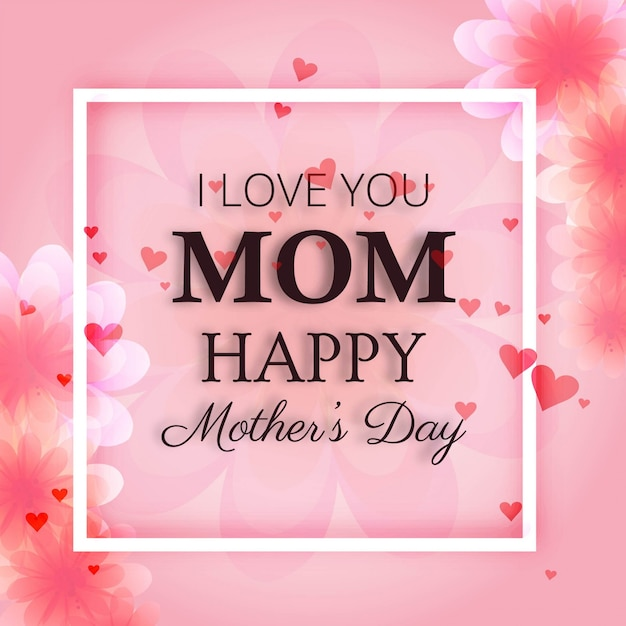 Pink Mothers Day Design With Frame Vector Free Download