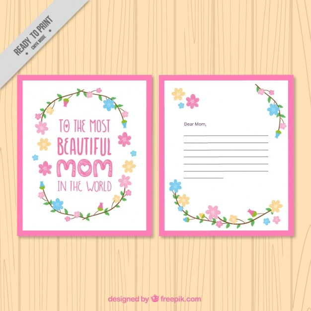 Pink mother\'s day greeting with emotive\ phrase