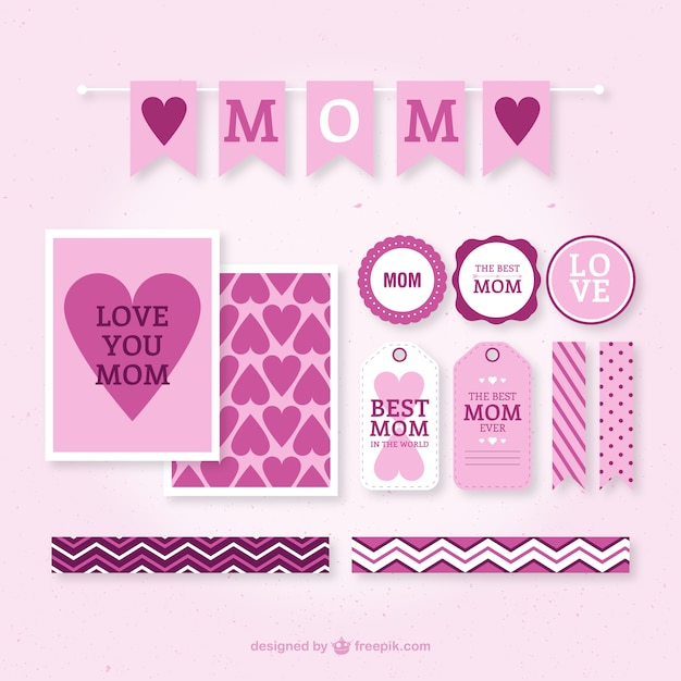 Pink mother\'s day labels design
