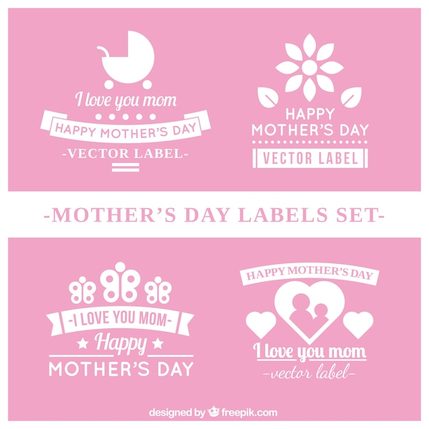Pink Mother\'s Day labels set
