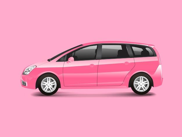 Pink mpv minivan automobile vector Free Vector