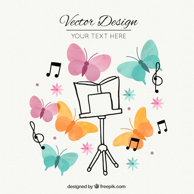 Pink music stand, butterflies and music notes Free Vector
