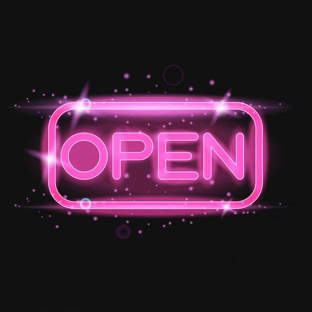 Pink neon light glowing sign open Premium Vector
