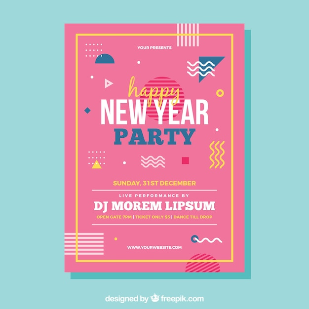 pink new year flyer template vector free download
