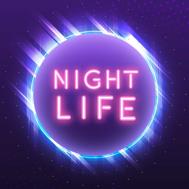 Pink nightlife neon sign vector Free Vector