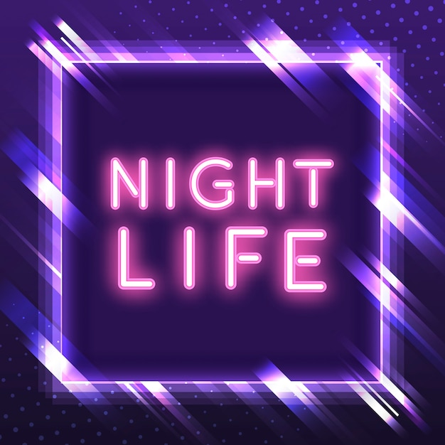 Pink nightlife neon sign vector Free Vector