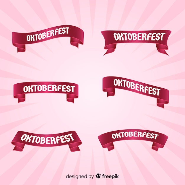 Pink oktoberfest ribbon collection Free Vector