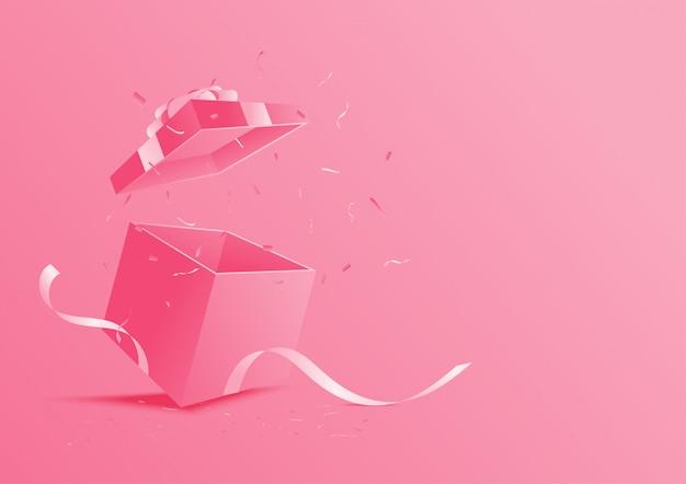 Pink open gift box. Premium Vector