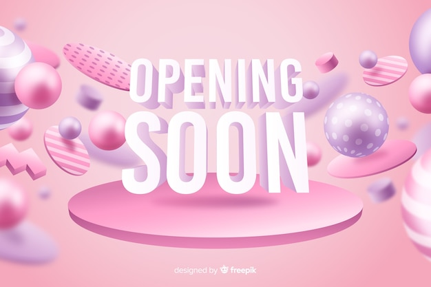 Pink opening soon background realistic design Free Vector