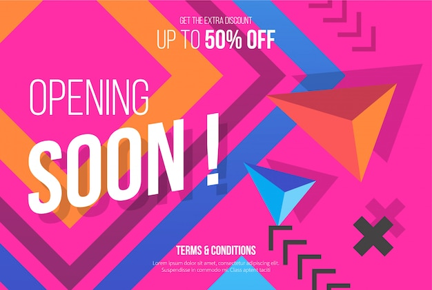 Pink opening soon background Free Vector