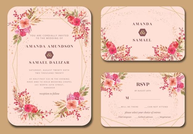 ピンクの蘭の花水彩結婚式招待状 Premiumベクター