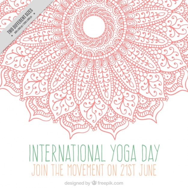 Pink ornamental hand drawn mandala yoga day\ background