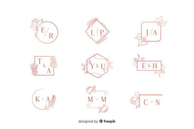 Pink ornamental wedding monogram collection Free Vector