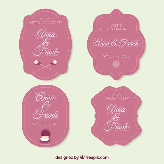 Pink pack of vintage wedding labels