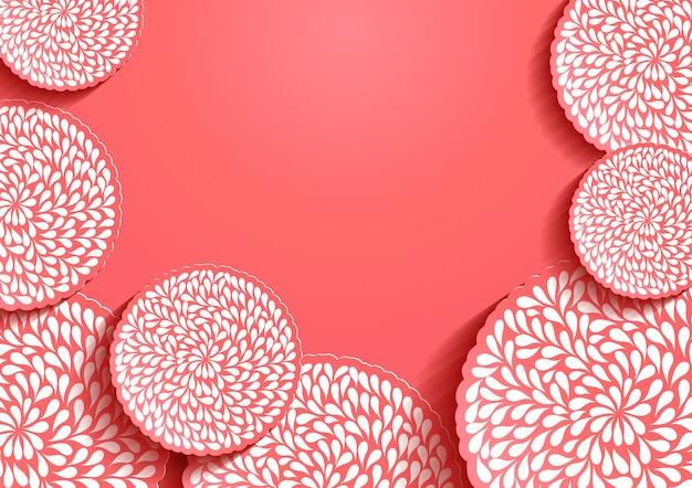 ピンクの紙アートの背景 Premiumベクター