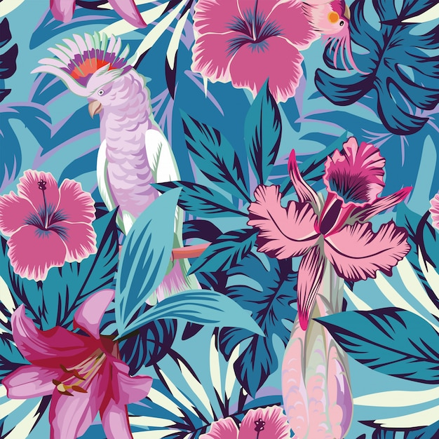Pink parrot flowers and plants blue seamless pattern wallpaper Premium Vector