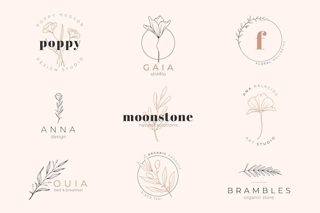 Pink pastel colored background and logo template Free Vector