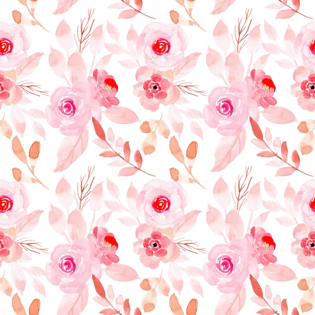Pink pastel watercolor floral seamless pattern Premium Vector