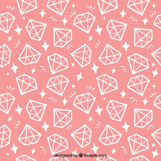 Pink pattern with flat diamonds Free Vector