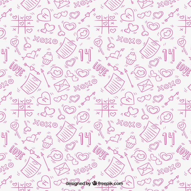 Pink pattern with hand-drawn love elements Free Vector